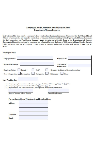 employee resignation release form