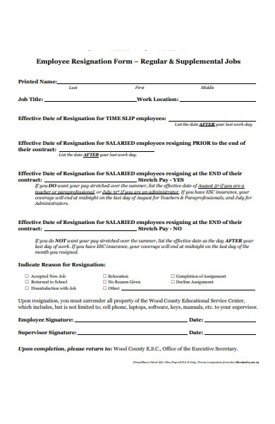 employee service resignation form