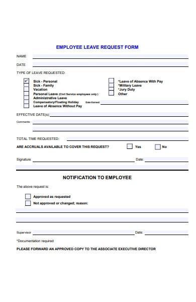 employee sick leave request form