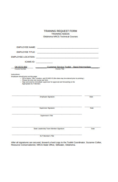 employee training request form