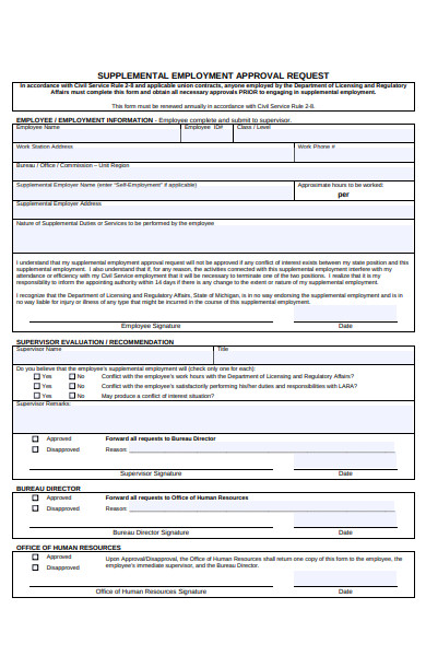 employment approval request form