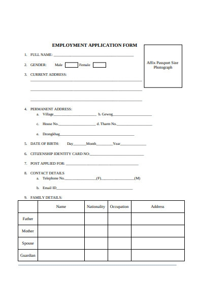 employment authority application form