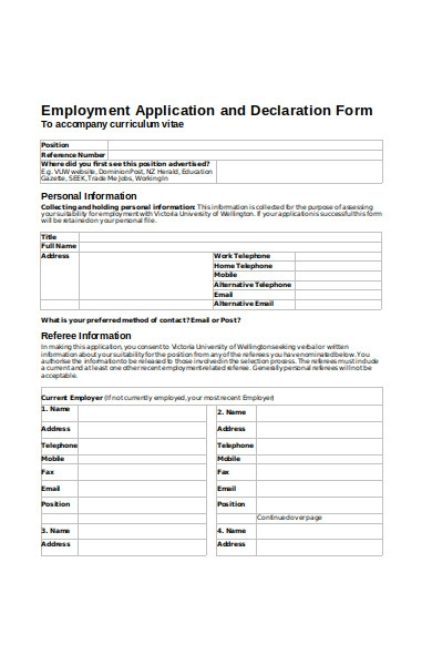 employment iapplication and declaration form