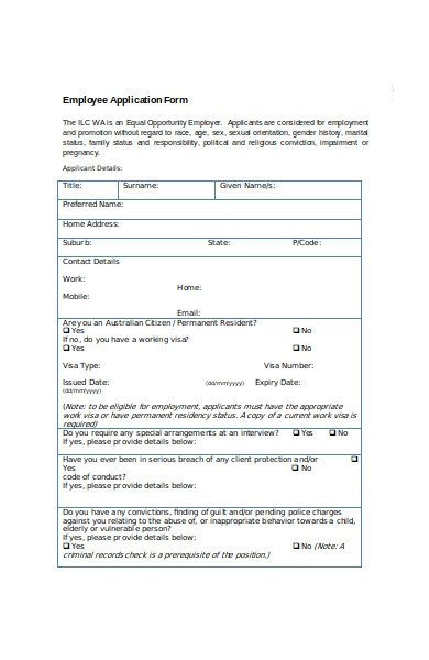 employment interview application form