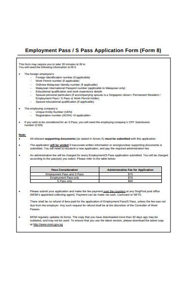 employment pass application form
