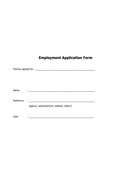 employment qualification application form