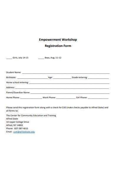 empowerment workshop registration form