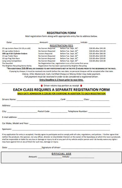 endurance race registration form