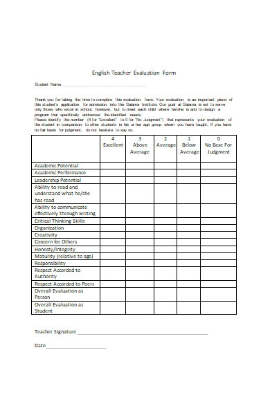 english teacher evaluation form