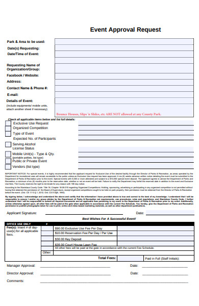 event approval request form