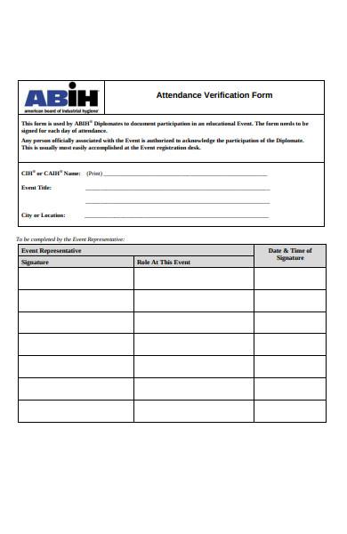 event attendance verification form
