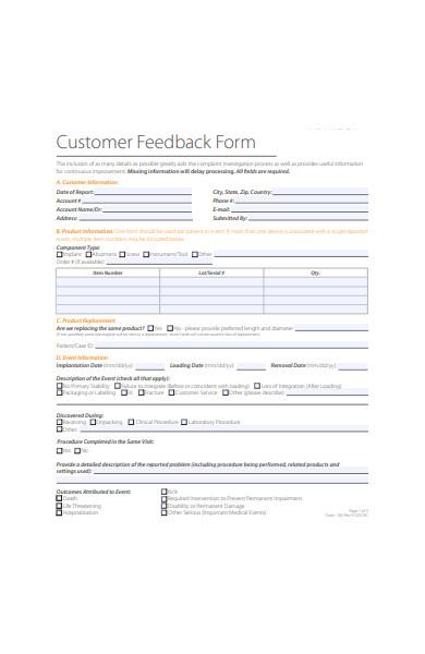 event customer feedback form