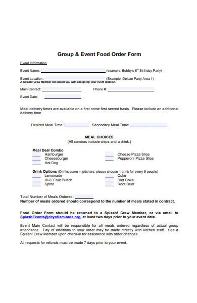 event food order form