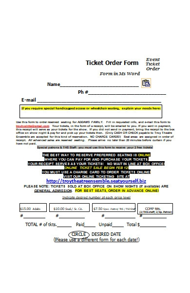 event ticket order form in ms word