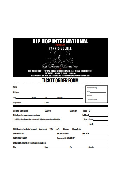 event ticket order form in pdf