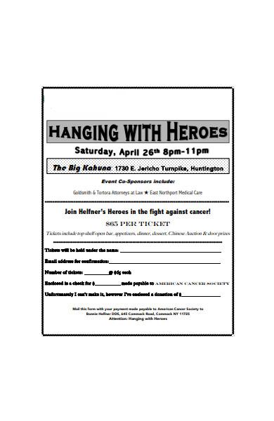 event ticket order form