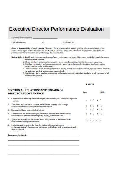 executive director performance evaluation form