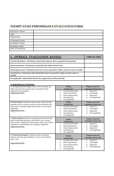 exempt staff performance evaluation form