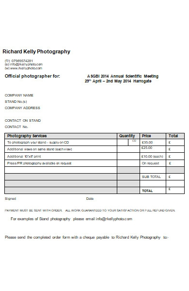 exhibition photography order form