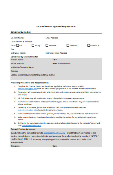 external proctor approval request form