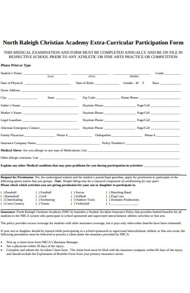 extra curricular participation form