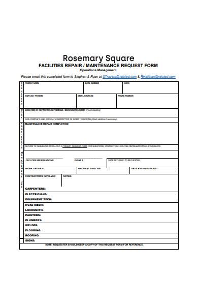 facilities repair work order form