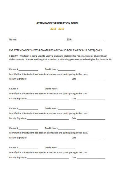 faculty attendance verification form