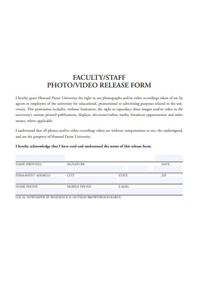 faculty photo and video release form