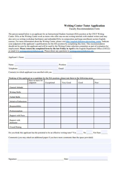 faculty tutor application form