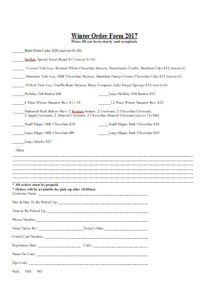 fall pastry bakery order form
