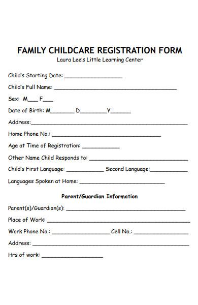 family childcare registration form