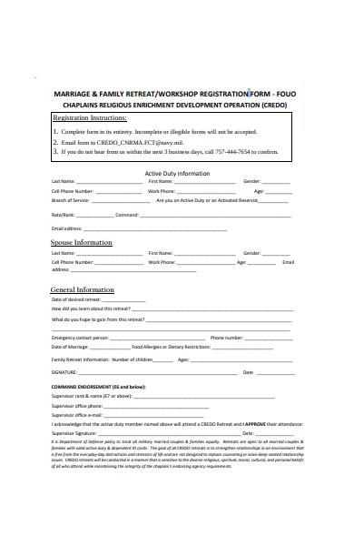 family retreat workshop registration form