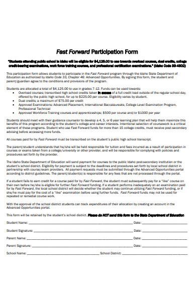 fast forward participation form