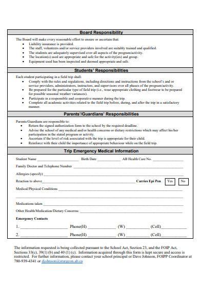 field trip annual consent form