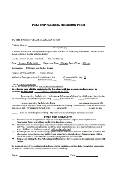 field trip parental permission form