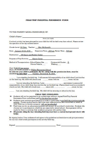 field trip parental permission form