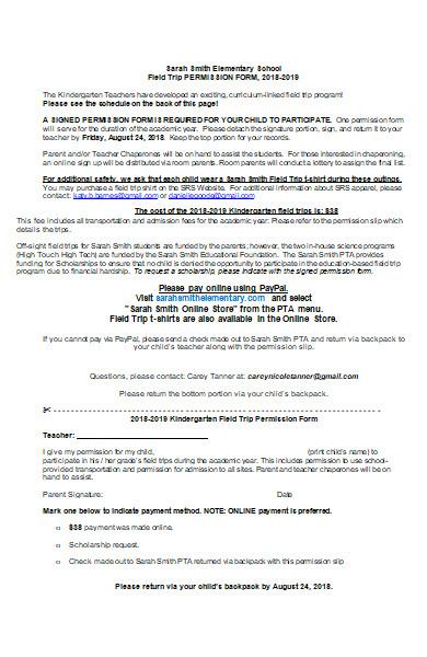 field trip permission form in ms word