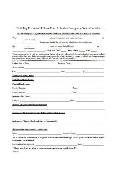 field trip permission release form