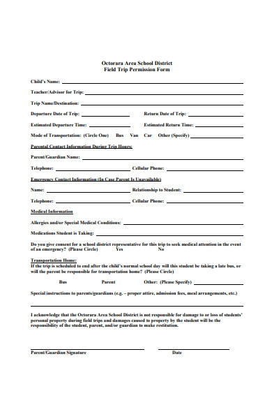 field trip permission slip form template