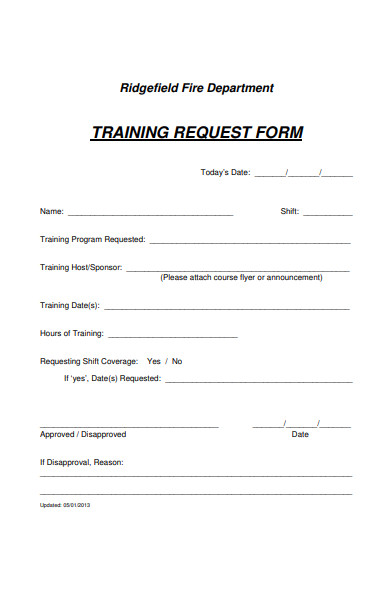 fire department training request form