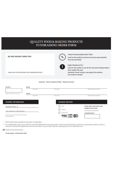 food fundraising order form
