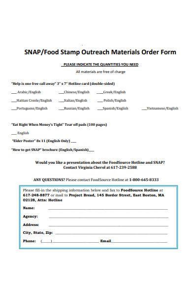 food materials order form