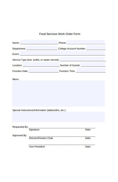 food services work order form