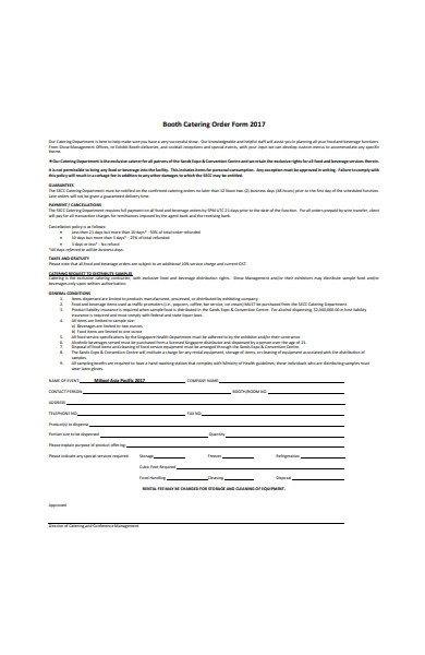 food and beverage catering order form