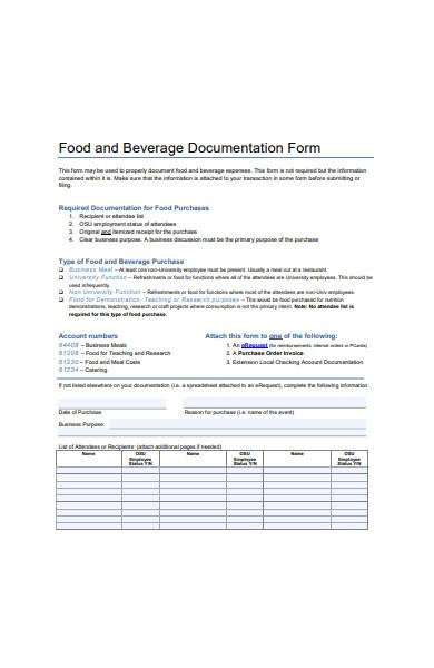 food and beverage documentation form