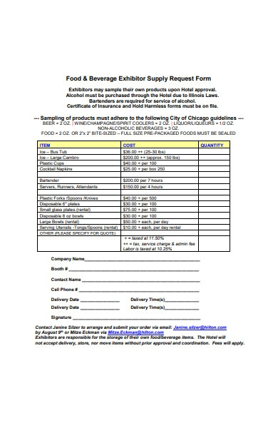 food and beverage exhibitor supply request form
