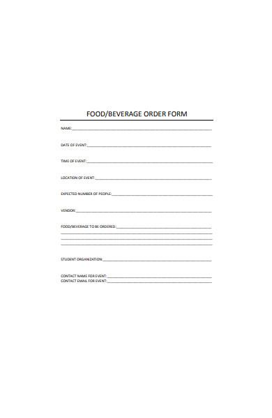 food and beverage order form sample