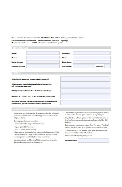 food and beverage permit order form