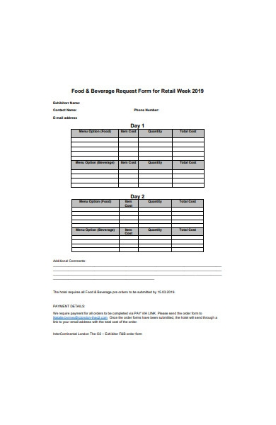 food and beverage request form for retail week