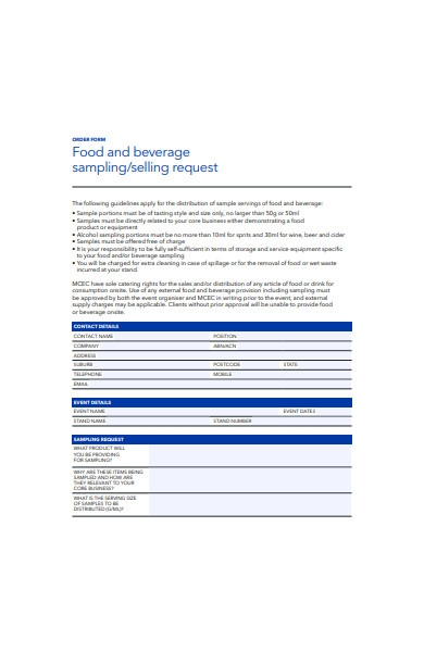 food and beverage selling order form